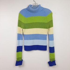 Vintage Ribbed Knit Turtleneck Striped 90s Y2K L